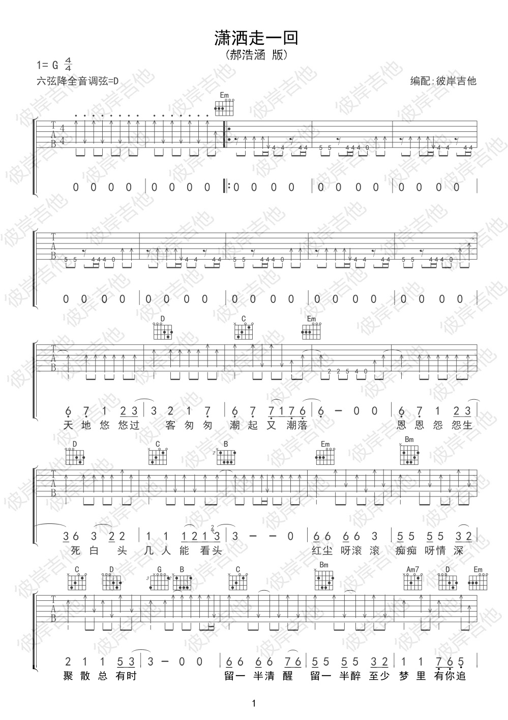 郝浩涵改编二手玫瑰版的吉他谱