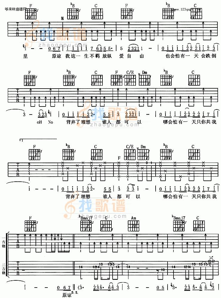 海阔天空文本吉他谱_海阔天空吉他谱简谱_海阔天空吉他谱_淘宝助理
