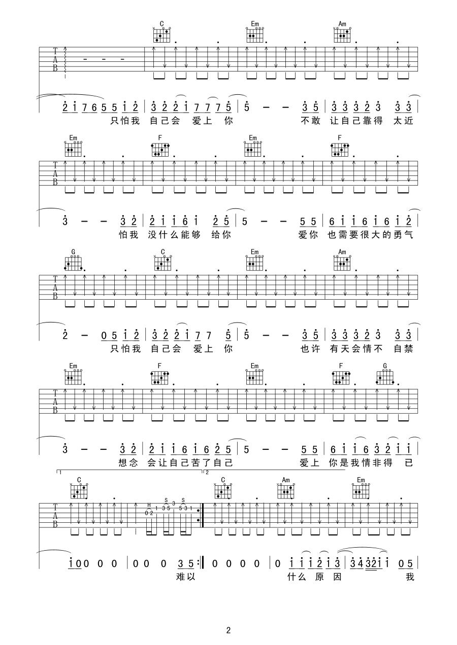 《庾澄庆 情非得已吉他谱 c调扫弦版》吉他谱
