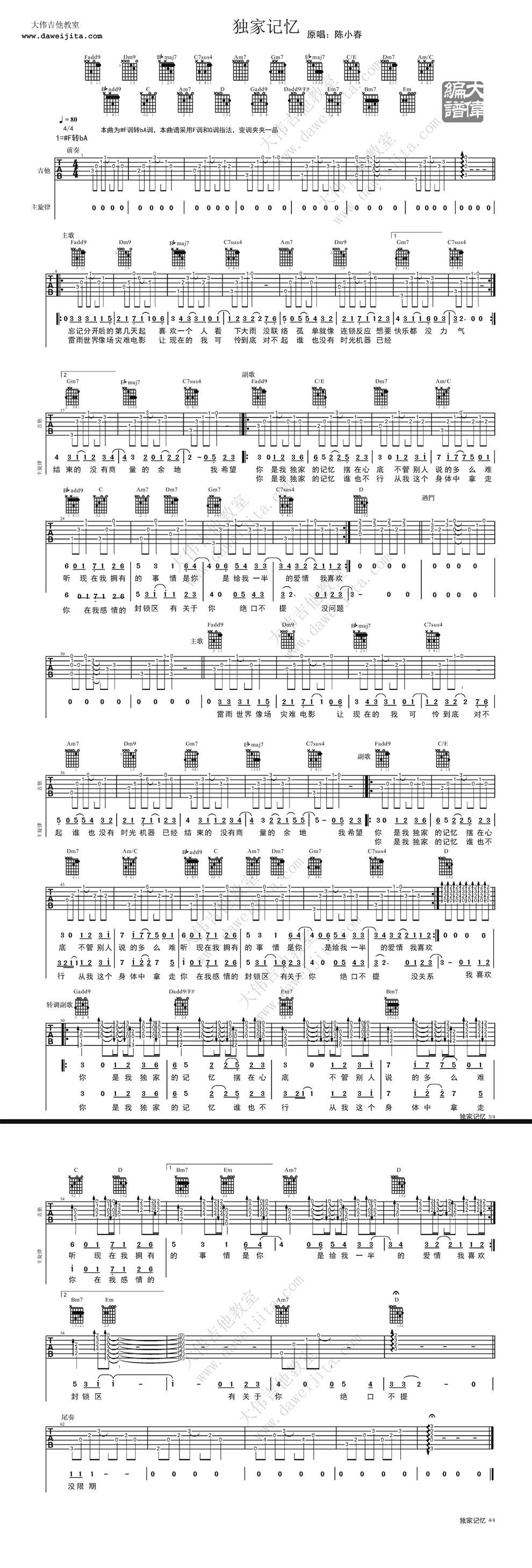 《独家记忆 大伟版吉他--,陈小春》吉他谱图片