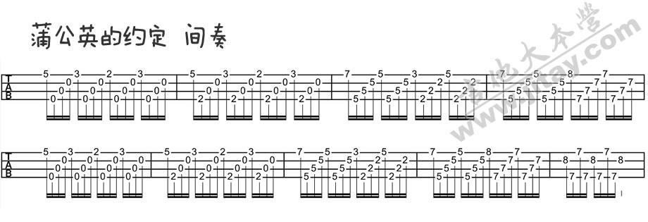 《蒲公英的约定ukulele谱-周杰伦-尤克里里弹唱》吉他图片