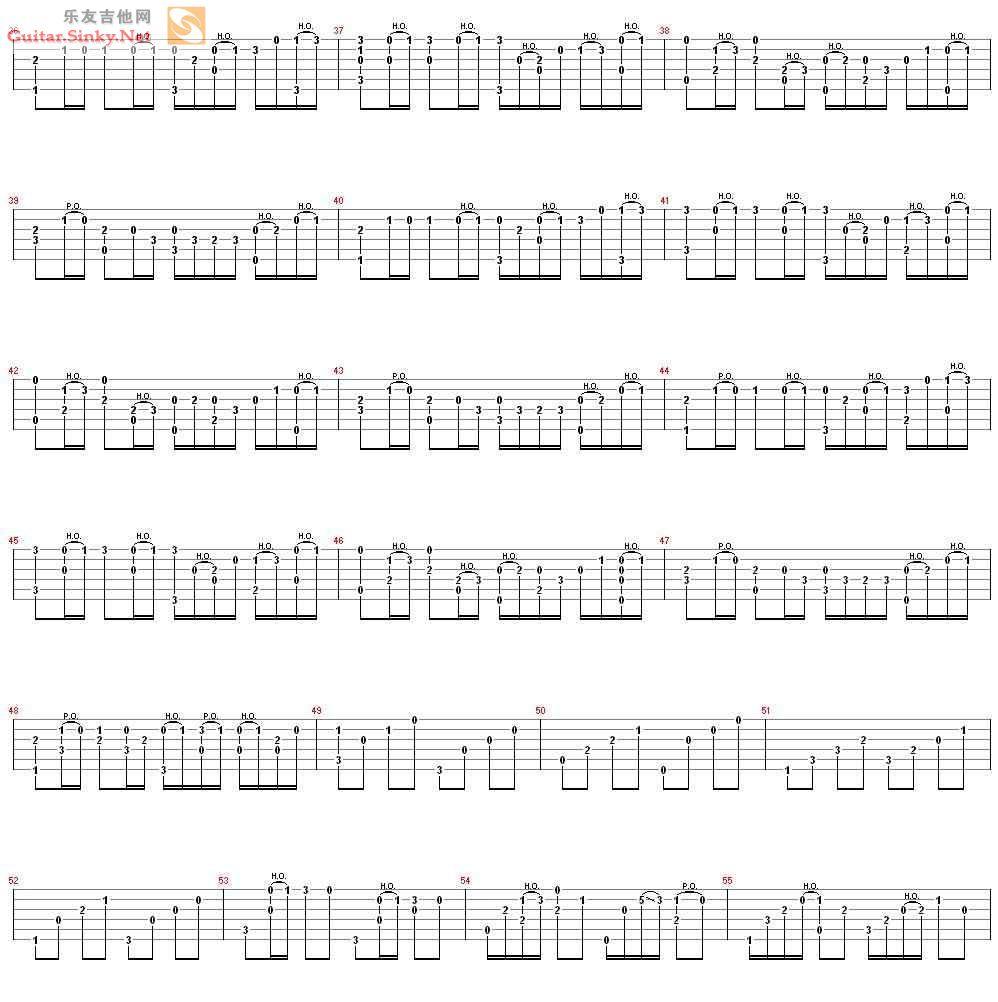 《卡农(钢琴改编吉他独奏)吉他谱,--典音乐》吉他谱图片