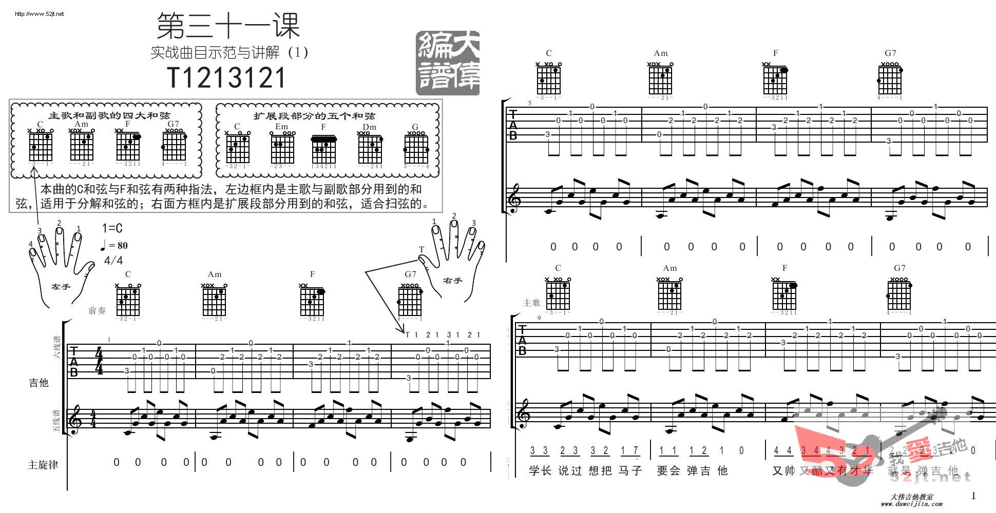 t1213121 四大和弦吉他谱视频的吉他谱 五月天 - 彼岸图片