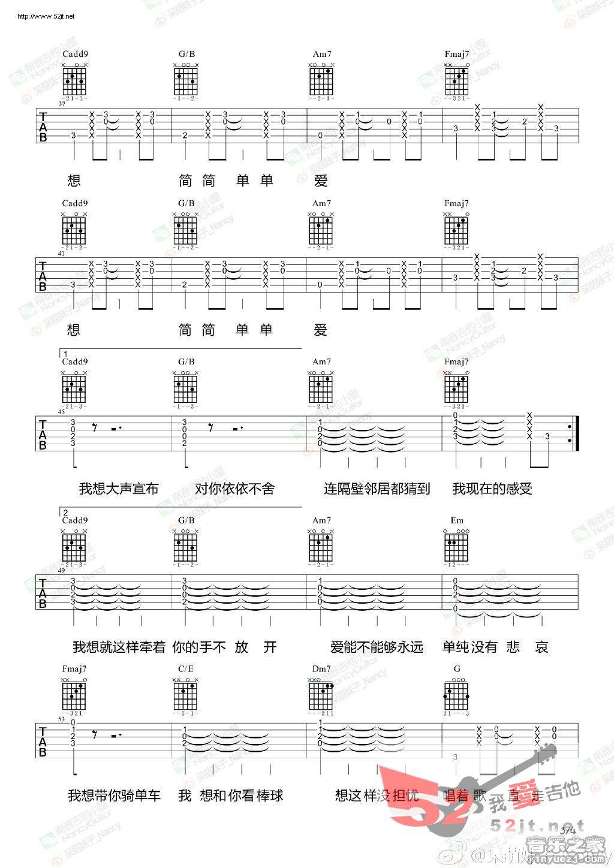 简单爱 nancy教学吉他谱视频的吉他谱 周杰伦 - 彼岸图片