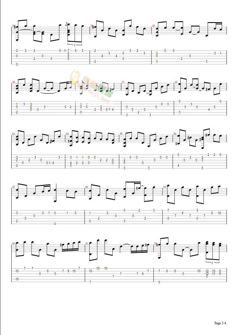 kiss the rain 吉他谱图片
