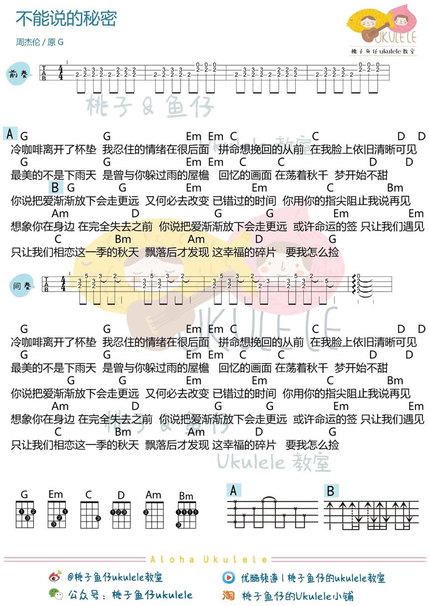《不能说的秘密》吉他谱 周杰伦 - 彼岸吉他_一站式者图片