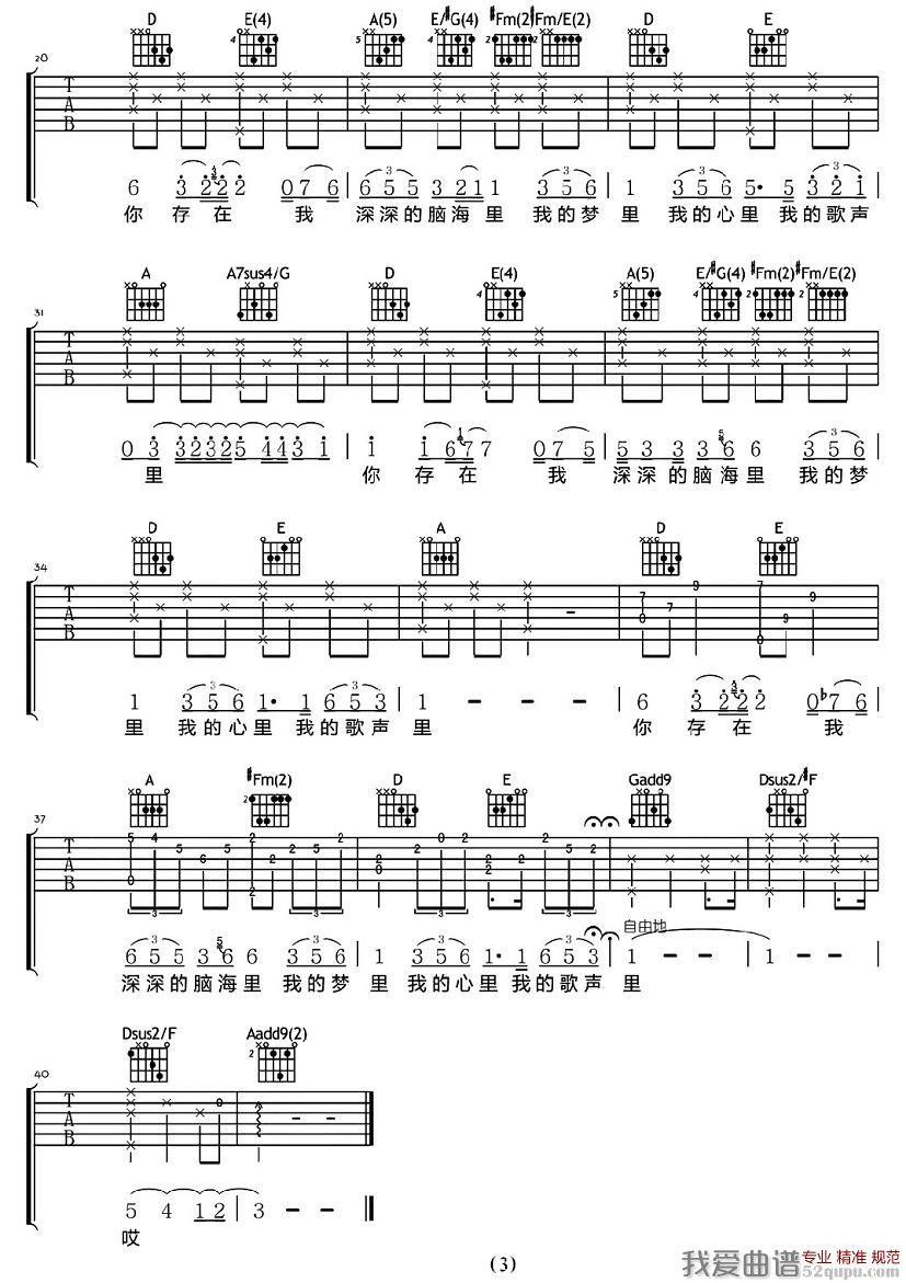 我的歌声里(彼岸编配版)的吉他谱 曲婉婷 - 彼岸吉他图片