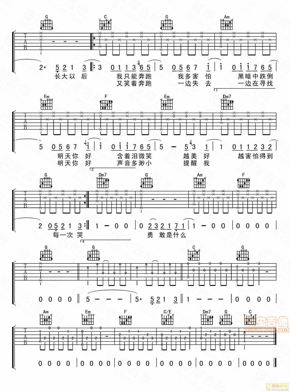 《明天你好》-牛奶咖啡原版编配的吉他谱 牛奶咖啡