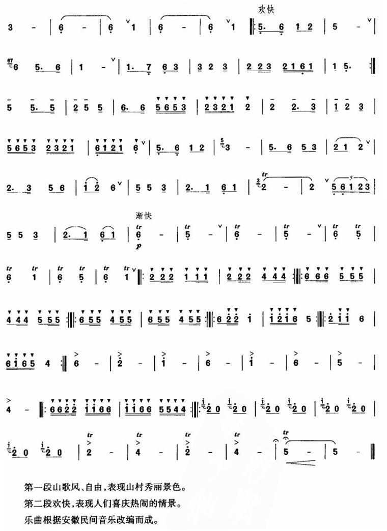 山村新歌-笛子独奏(笛子曲谱) 吉他谱图片