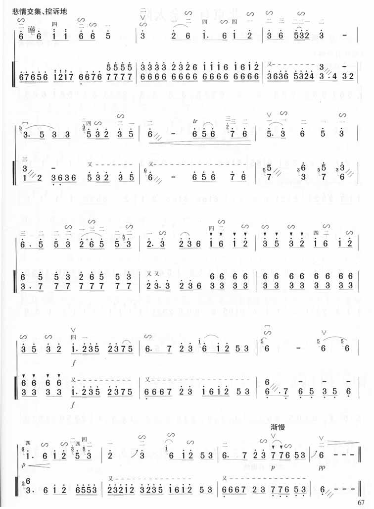 江河水-东北民间音乐(二胡曲谱) 吉他谱图片