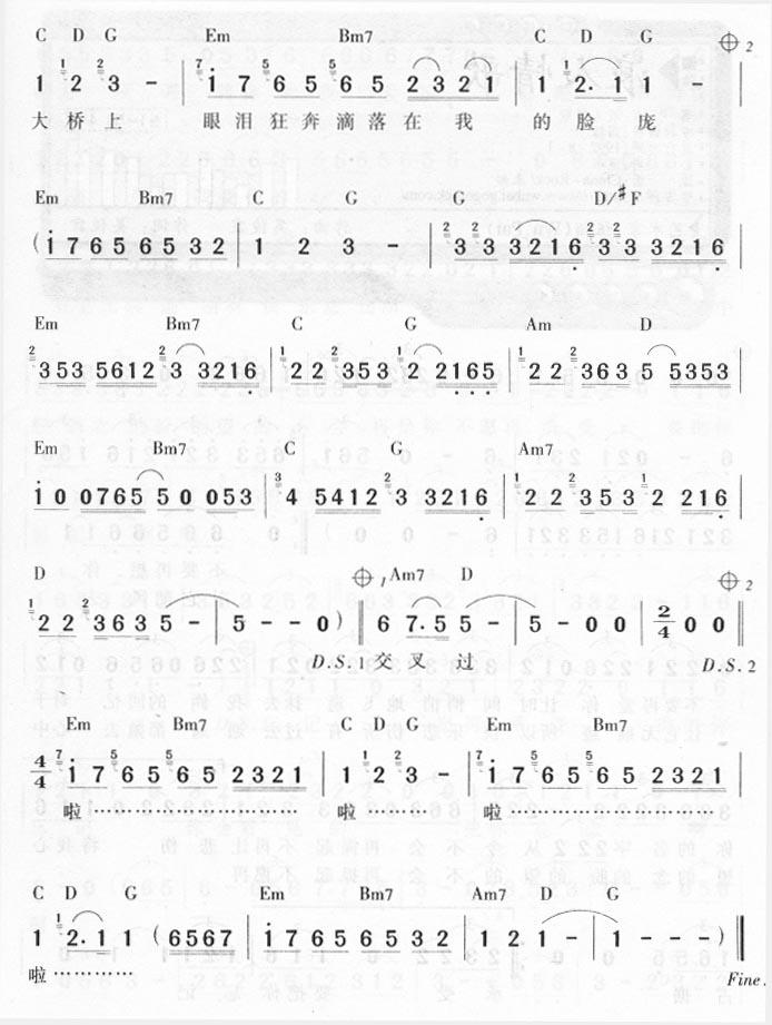 泪桥-伍佰(简谱) 吉他谱