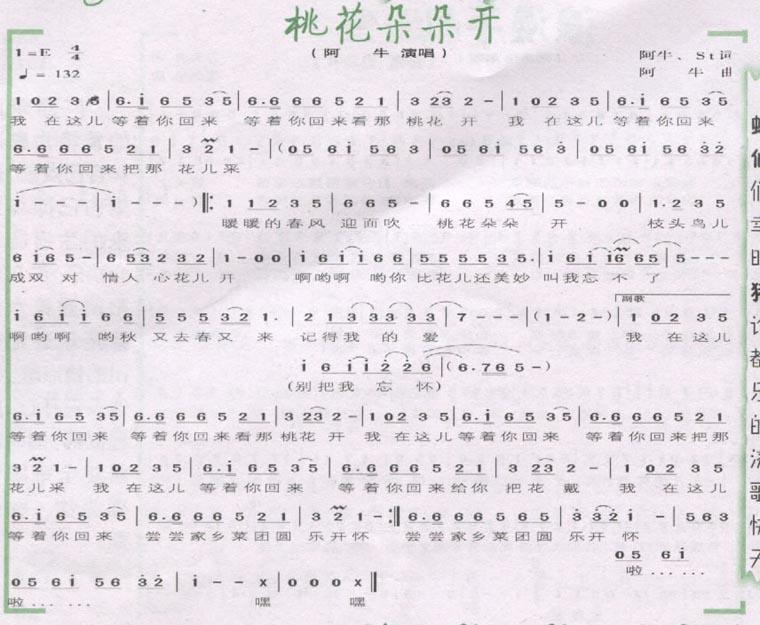 桃花朵朵开-阿牛(简谱) 吉他谱