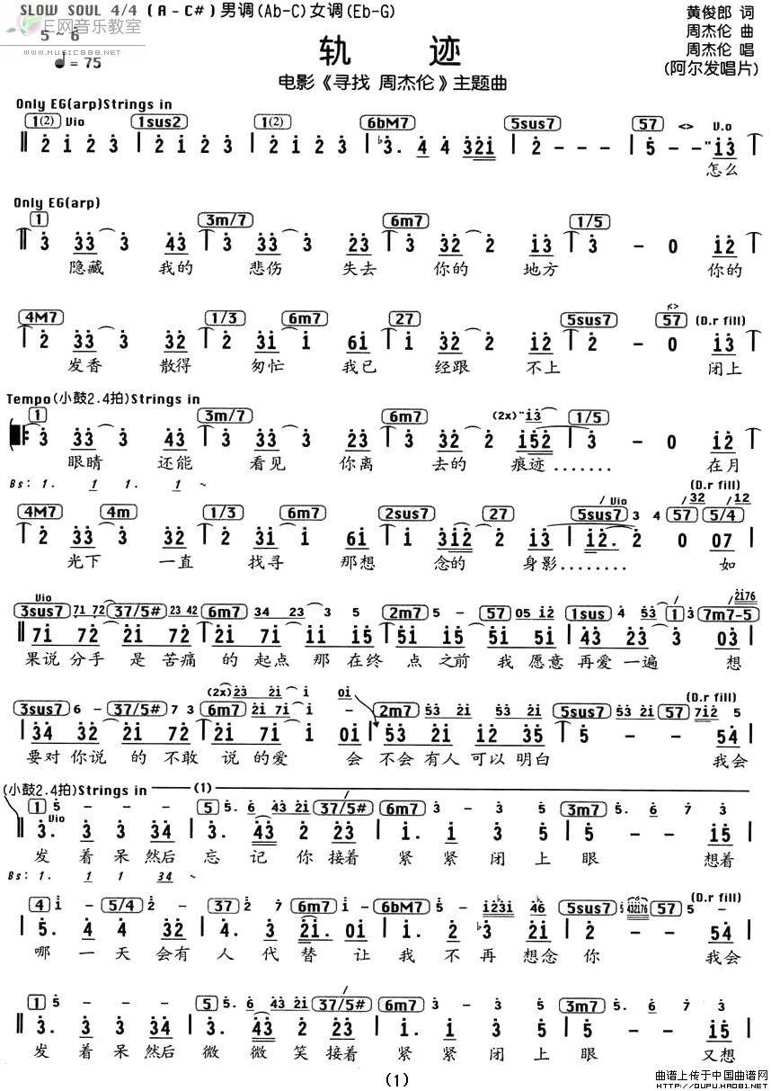 《轨迹-周杰伦(电影《寻找周杰伦》主题曲简谱+和弦)》吉他谱图片