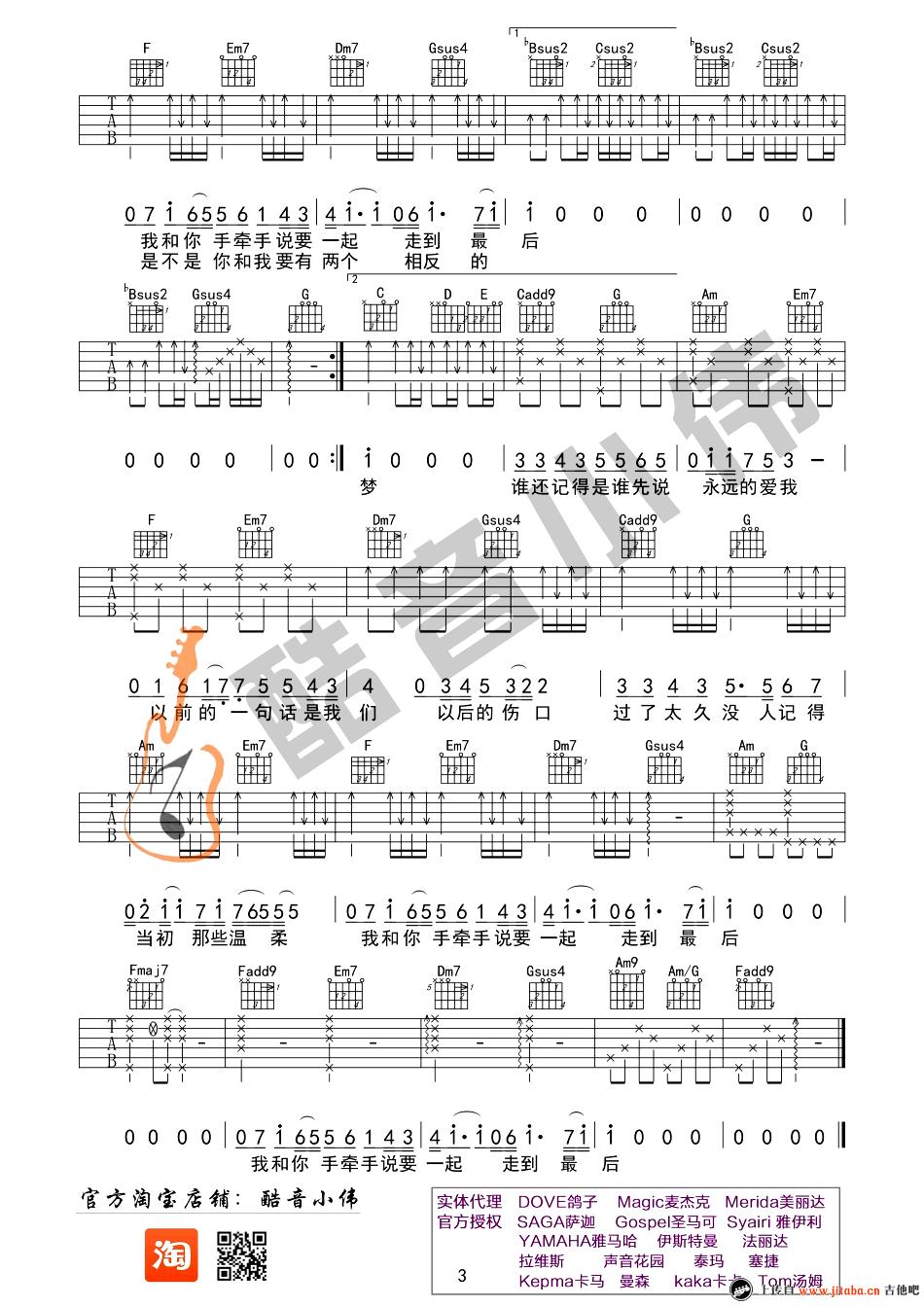 记得吉他谱_c调简单弹唱男生版_林俊杰_吉他教学视频图片