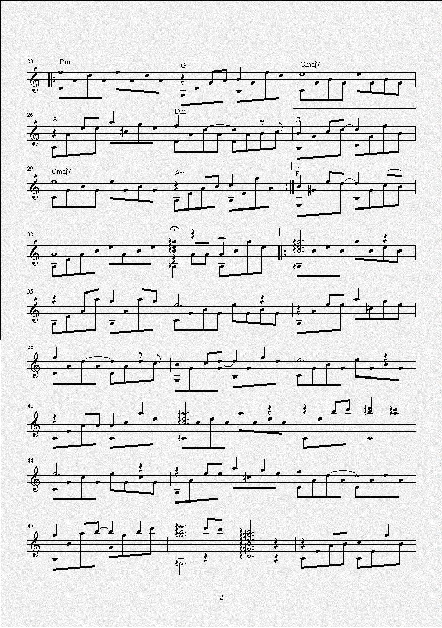 《貝加爾湖畔(吉他獨奏譜)》吉他譜圖片