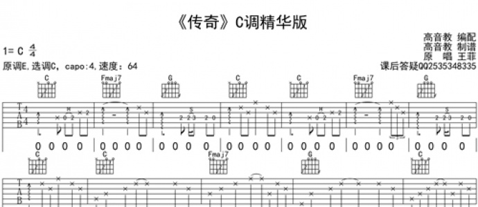 [优质谱推荐]王菲《传奇 C调精华版》吉他谱