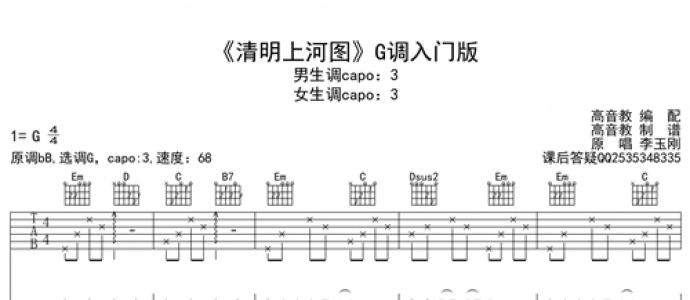 [优质谱推荐]李玉刚《清明上河图 G调入门版 抖音热曲》吉他谱