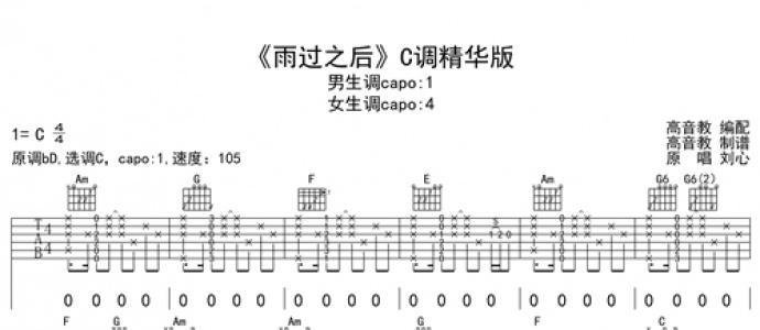 [优质谱推荐]《抖音热曲 雨过之后 C调精华版》吉他谱
