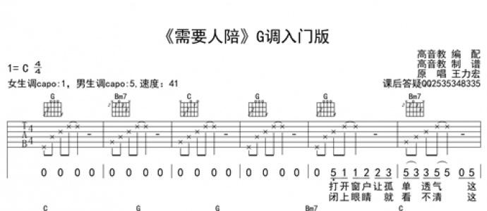 [优质谱推荐]王力宏《需要人陪-西虹市首富推广曲  G调入门版》吉他谱