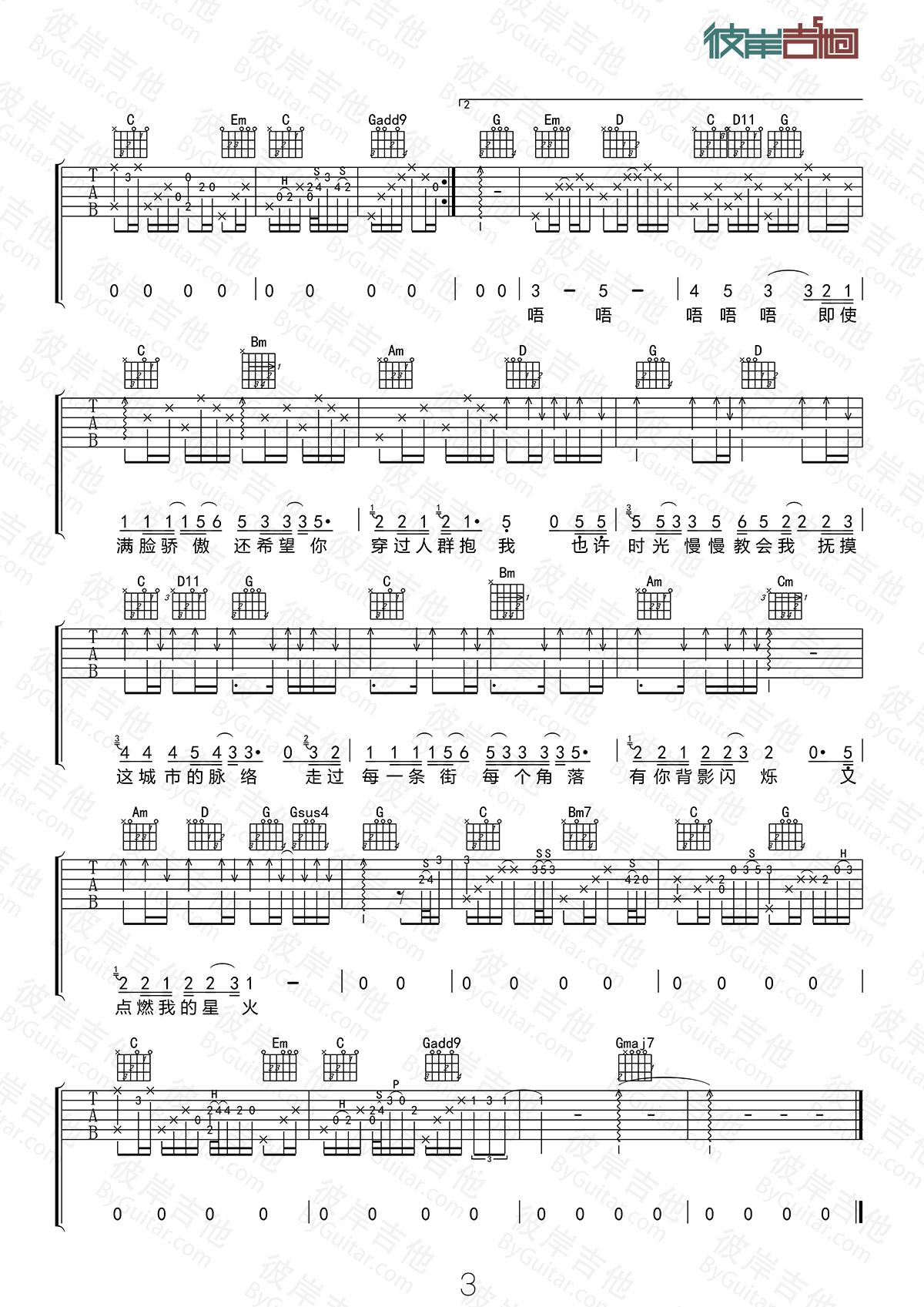 冷漠和杨小曼的歌_星火吉他谱 洪乐团-彼岸吉他 - 一站式吉他爱好者服务平台
