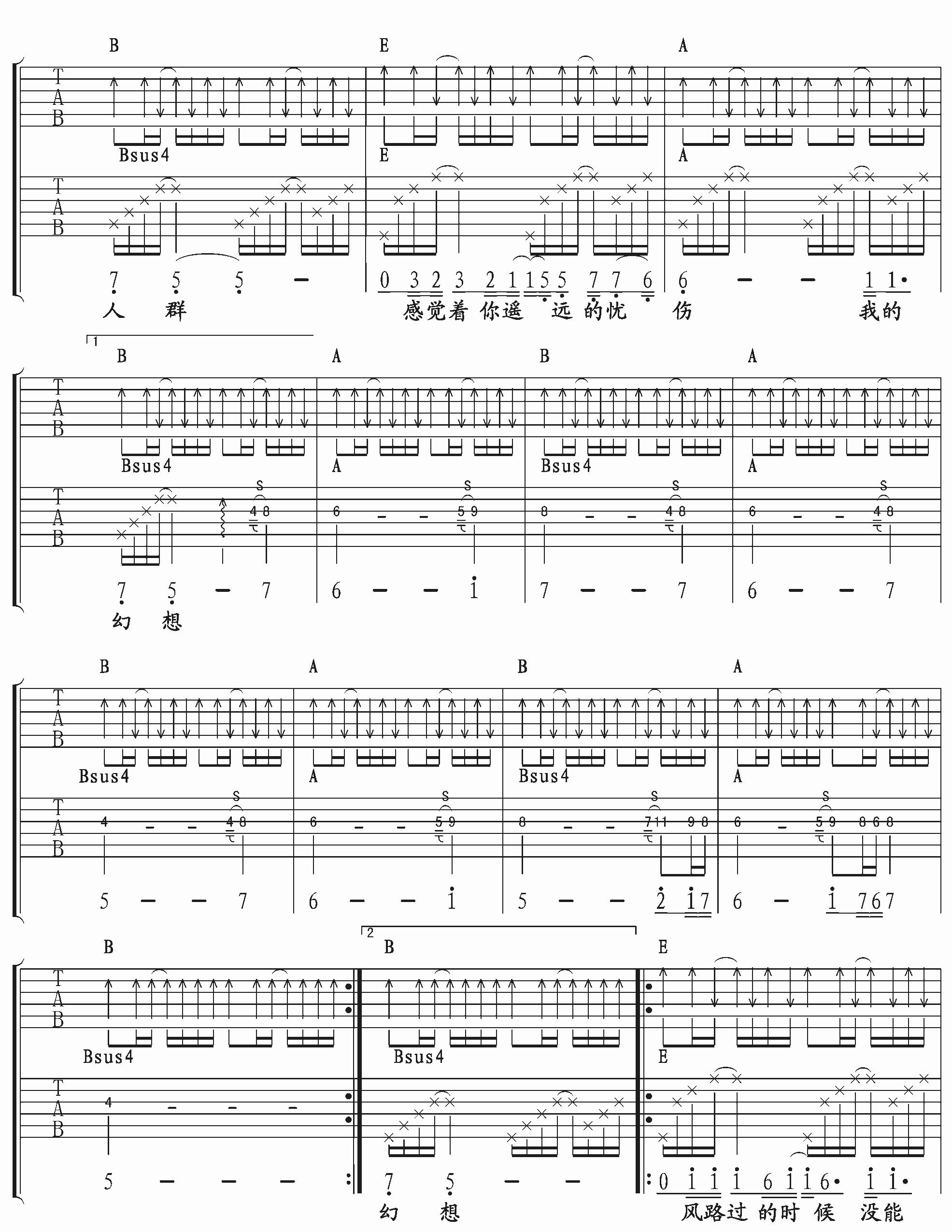 《许巍 我思念的城市》吉他谱